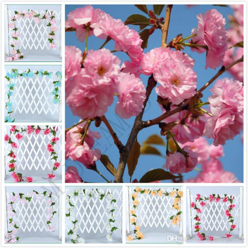 6 ألوان 2.3M الزهور الاصطناعية بيئة اصطناعية زهرة الكرز ساكورا كرمة قصب الاصطناعي للزينة الزفاف الجدار شنت
