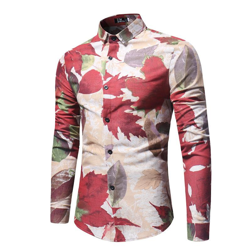 Fashion-New men's long sleeved flower shirt shirts camisas para hombre men shirt street wear mens dress shirts Casual Print modis