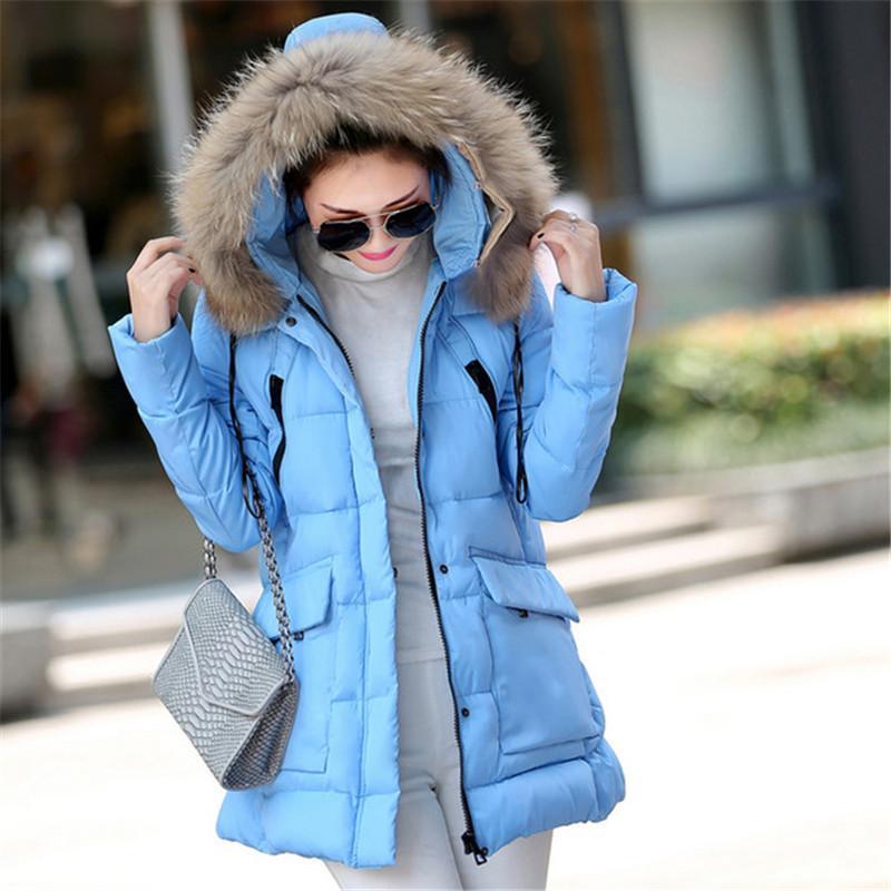 Nice Зимняя мода Тонкий пальто Женщины Длинные толстовки Поддельный шерсти Hat Толстые Padded Coat Parka куртки Леди меховой воротник Верхняя одежда Q1776