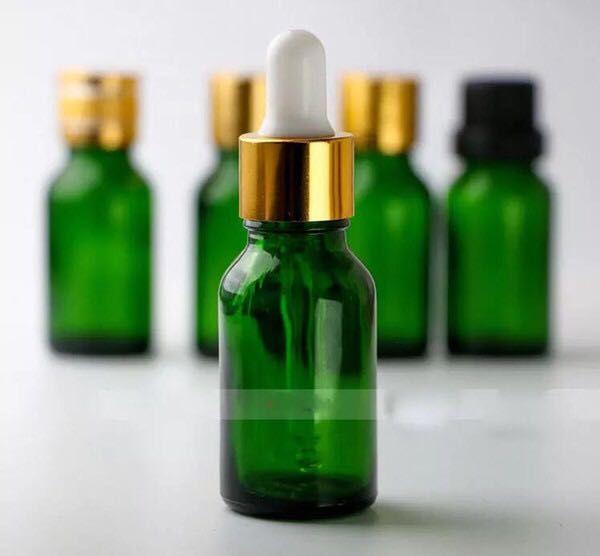 Heißer Verkaufs-15ml Grün Glas Ätherisches Öl Flaschen Leer e Zigarette Flüssigkeit Flaschen 15 ml Mit Black Gold Schraubverschluss In Stock