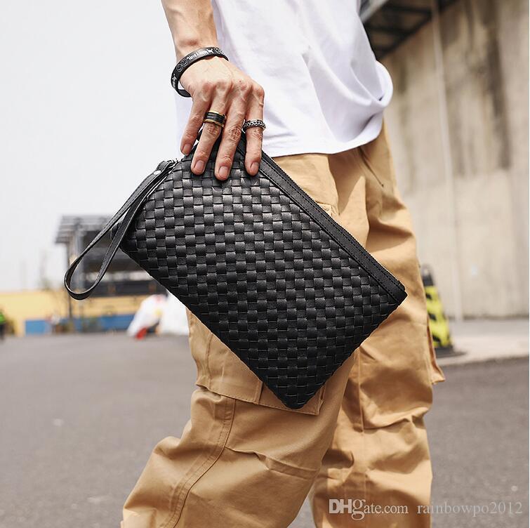 Factory wholesale men handbag classic hand-woven wrist bag fashion leather men storage wallet fashion woven leather mobile phone bag