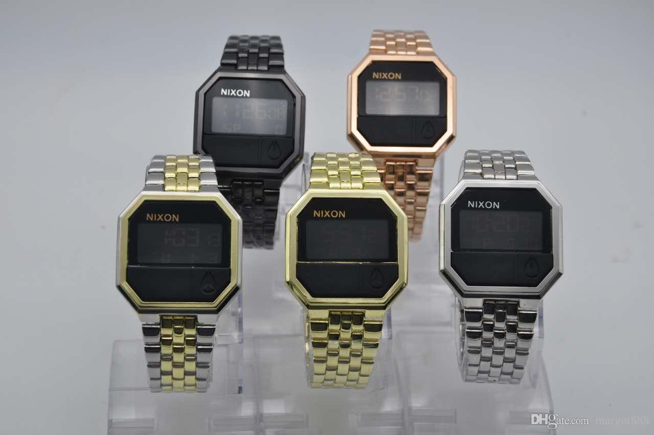 디지털 전자 시계 캐주얼 패션 LED 석영 남여 시계 콜드 라이트 평방 폴딩 버클 relojes 파라 아저씨 드 lujo