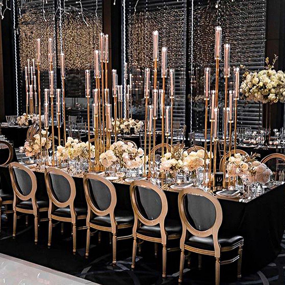 8 têtes / 12 têtes) 8 têtes de haut en métal or pièce maîtresse de candélabres de mariage à vendre senyu0352
