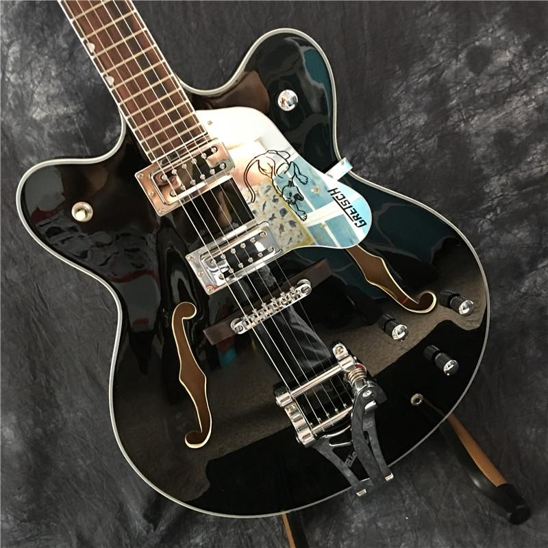 Customized nuova chitarra elettrica nera di jazz all'ingrosso. Buona qualità del suono e un servizio su misura, trasporto libero