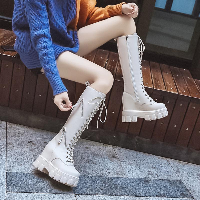 Kadınlar Moda Ayakkabı 2020 İlkbahar Sonbahar Bilek Patik Kadın büyüklüğü 34-39 İçin Seksi Yüksek Boots diz boyu pu Çizme Yüksek Topuklar