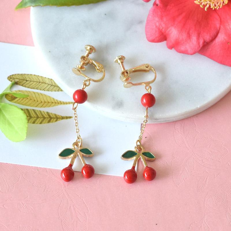 Mode-Boucles d'oreilles pour les femmes 925 Argent Fruit oreille Goujons Clips Boucles d'oreilles en émail long cerise Jewlery gros