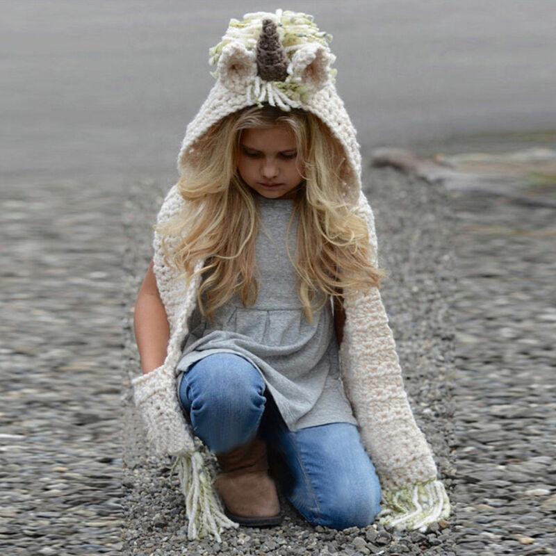 Emmababy Autumn Winter Unicorn Baby Girls Hooded Scarf Fox Animal Hoodie Cowl Crochet Knitted Beanie Hat Kids Hood