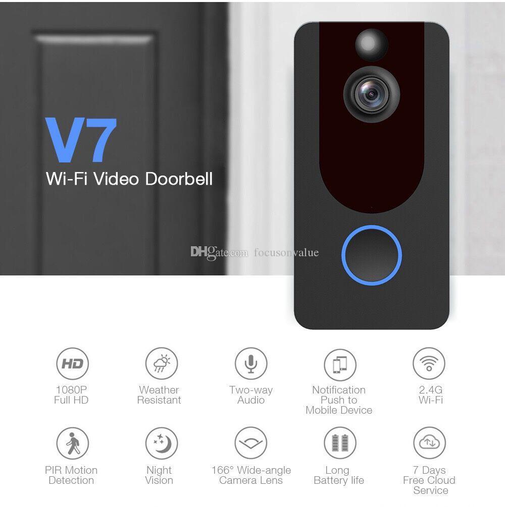 V7 cámara HD 1080P Wifi del vídeo Dorbell intercomunicador visual de la cámara de infrarrojos de visión nocturna de detección de movimiento PIR aplicación de control de seguridad Inicio Camcor
