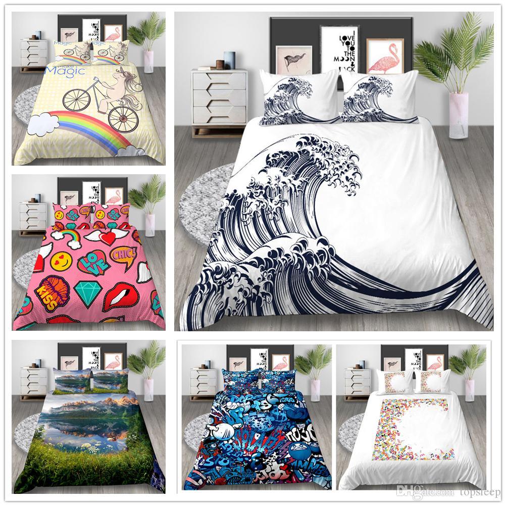 Juego de sábanas de venta caliente Twin Full Queen Size Impresión en 3d Juego de funda de edredón para niños y mujeres para el hogar Textil suave de suministros de ropa de cama