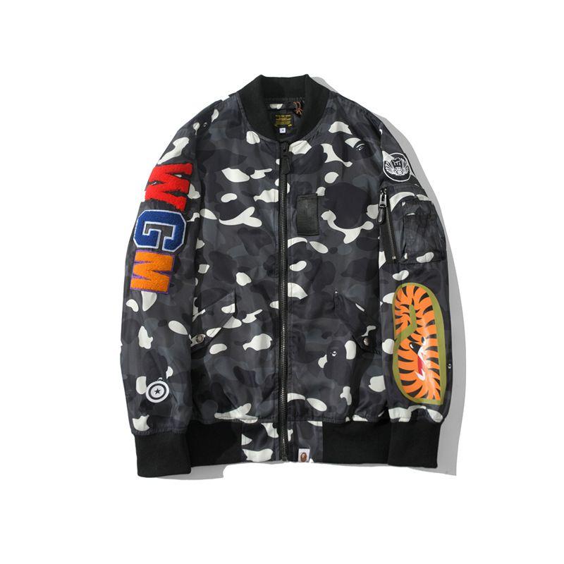 Primavera Autunno nuovo amante Camo sottile casuale del rivestimento di baseball Shark Casual Lover Stampa baseball giacca dell'uniforme di trasporto