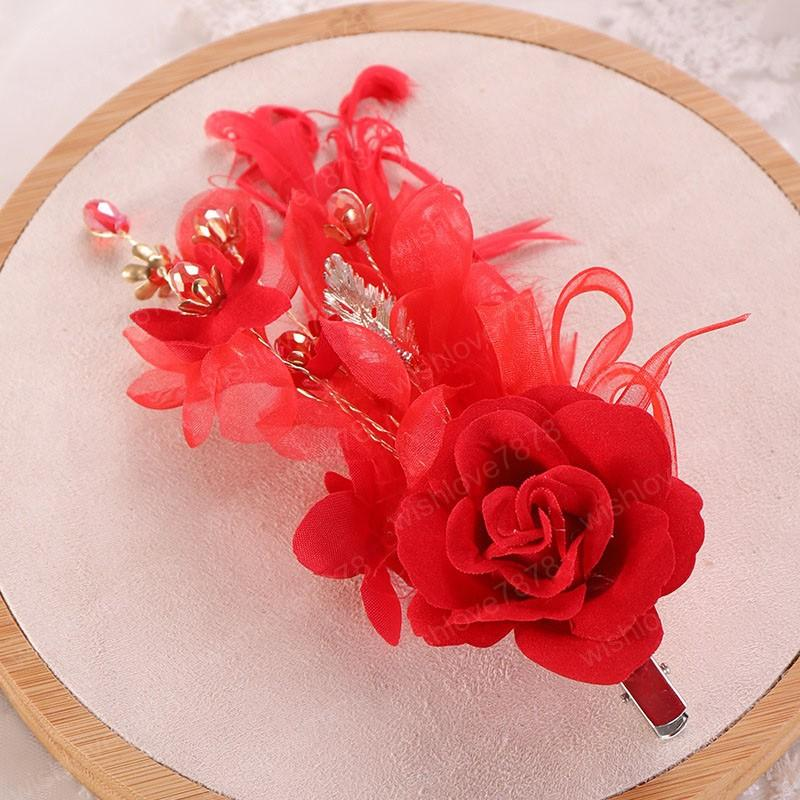 Vintage Chinese Style Red Rose Crystal Hair Clip Charming Headdress Flower Red Women Hair Jewelry Accessories