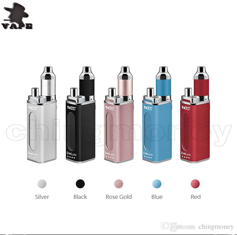 Authentic Yocan Delux Kit For Wax & Oil Double Battery 1500mah 450mah Battery Box Mod Magnetic Connection Kit 5 Colors Vape Starter Kit