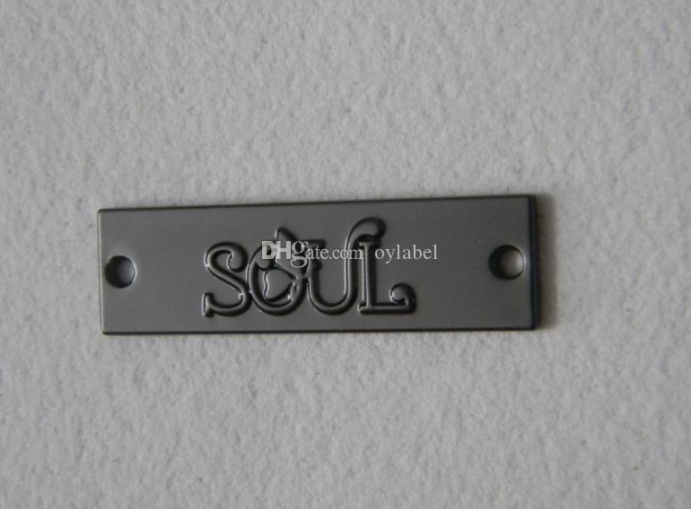 200 pz personalizzati etichette in metallo nero per borse marcatore metallo etichette biglietto in metallo per jeans etichetta in lega di zinco