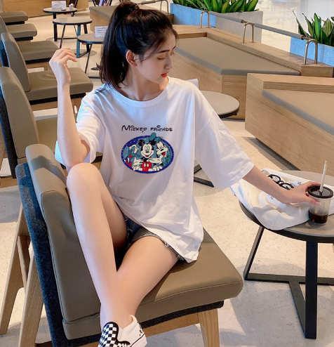 Новое поступление женские дизайнерские футболки длинные летние свободные дышащие плюс размер женские ткани коробка Stlye мода мышь печати ткани