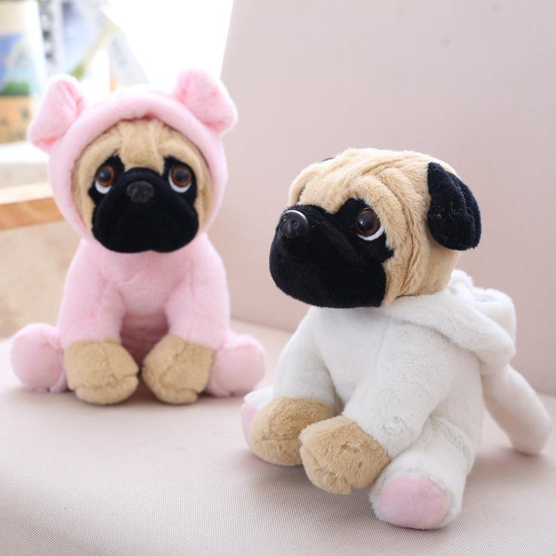 Stuffed Simulation Shaggy dog plush toy with cap 20CM Plush Lovely Pug Puppy Pet Toy Children Kids Birthday Christmas Gifts