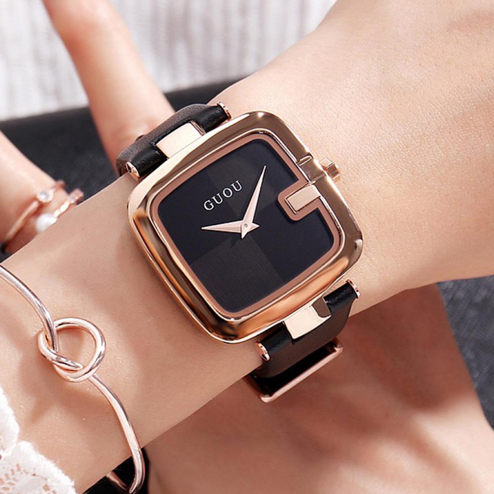 Guou de 2019 mujeres de los relojes de moda los relojes de señoras para las mujeres pulsera de las mujeres del reloj de lujo Montre Femme Plaza del Reloj Saat CJ191217