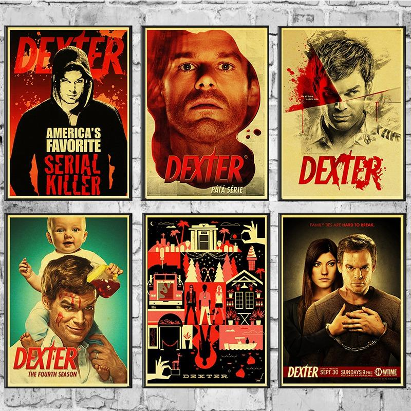 Top Horror TV Series Dexter Posters Michael C. Hall Printed Vintage Wall Posters Wall Sticker For Home Room Store Art