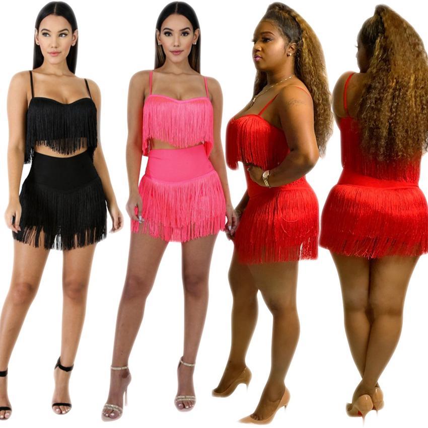 Mulheres 2 peça set tassle gallus + shorts roupas strap colete + calça de treino de moletom calças justas sportswear LJJA2555