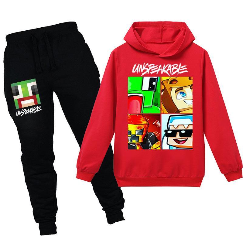 Teenmiro 2020 Unspeakable 2 piezas de ropa de los niños conjunto de muelles para Hombres Mujeres camiseta de los niños de dibujos animados pantalones casuales de manga larga Sudaderas