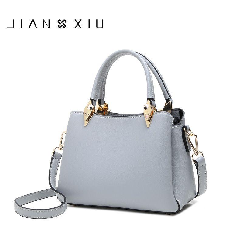 JIANXIU Mulheres Pu bolsa de couro Feminino de Luxo Top-mão Tote Bag Multi-Espaço 2020 New Sólidos ombro Cor Messenger Bag