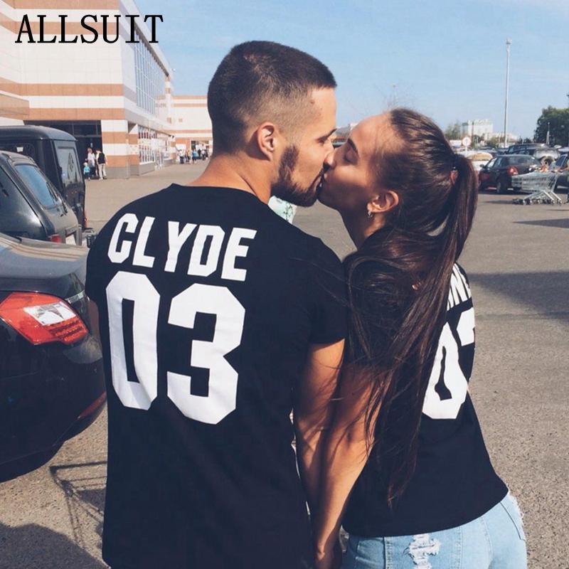ALLSUIT Mode-Liebhaber Tshirt Druckbuchstabe CLYDE 03 BONNIE 03 T-Shirt Baumwolle Kurzarm T-Shirt Paar T-Shirt bequeme Hemden