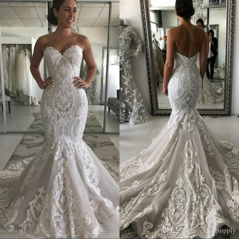 Vintage Mermaid Wedding Dresses 2020 Sweetheart Lace Appliques Sleeveless Sweep Train Open Back Plus Size Formal Bridal Gowns White Wedding Dress Amazing Wedding Dresses From Officesupply 167 84 Dhgate Com