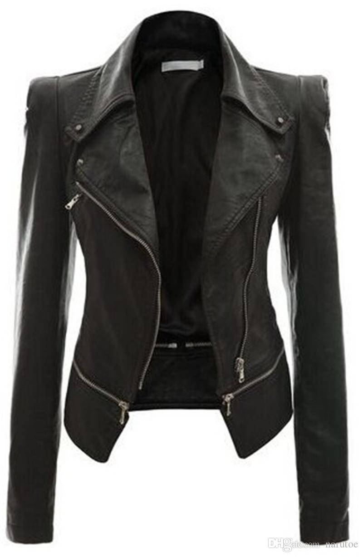 Plus Size Womens giacca designer pelle Moda Slim Faux solido del rivestimento di colore risvolto Neck Moto Style Giacche