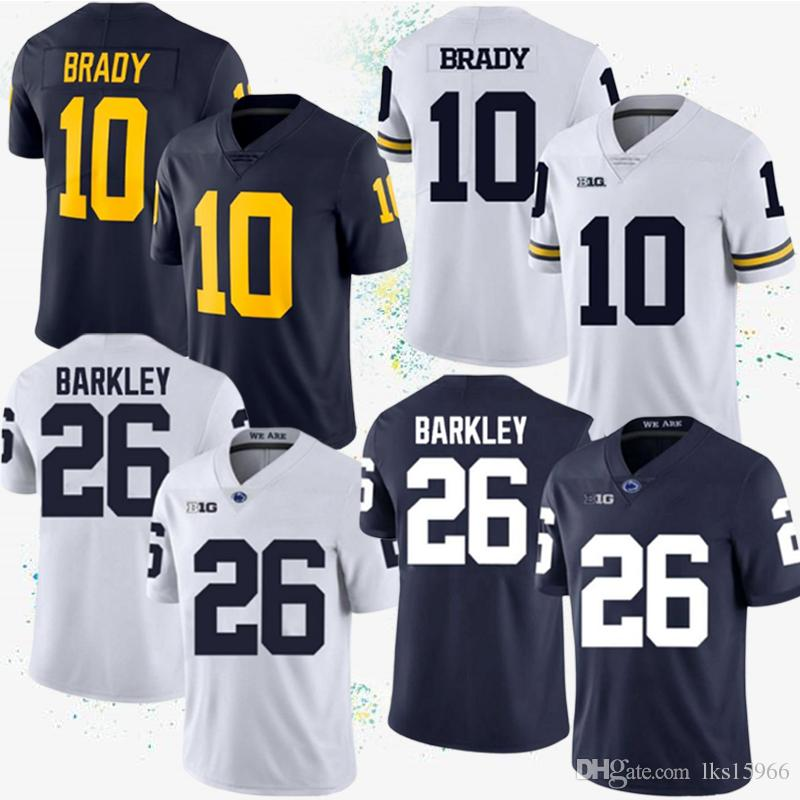 competitive price 83988 1caa0 2019 Michigan Wolverines NCAA Jersey 10 Tom Brady Penn State Nittany Lions  26 Saquon Barkley Jersey Brady American College Football Wear From ...