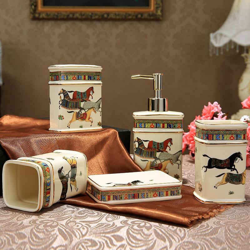 Porcelain bathroom sets ivory porcelain god horse design five-piece set accessories bathroom sets elegant bathroom sets gifts