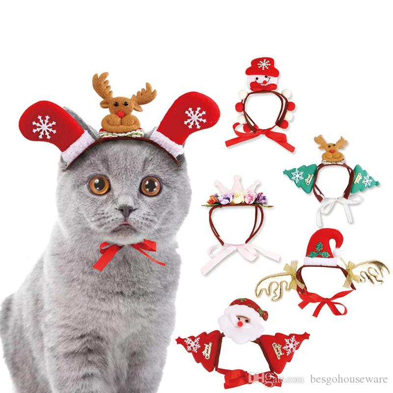 Christmas Halloween Pet Headband Cat Dog Decor Santa Elk Headgear Pet Dog Cats Headdresses Headwear Hats Dog Cosplay Headgear BH230 TQQ