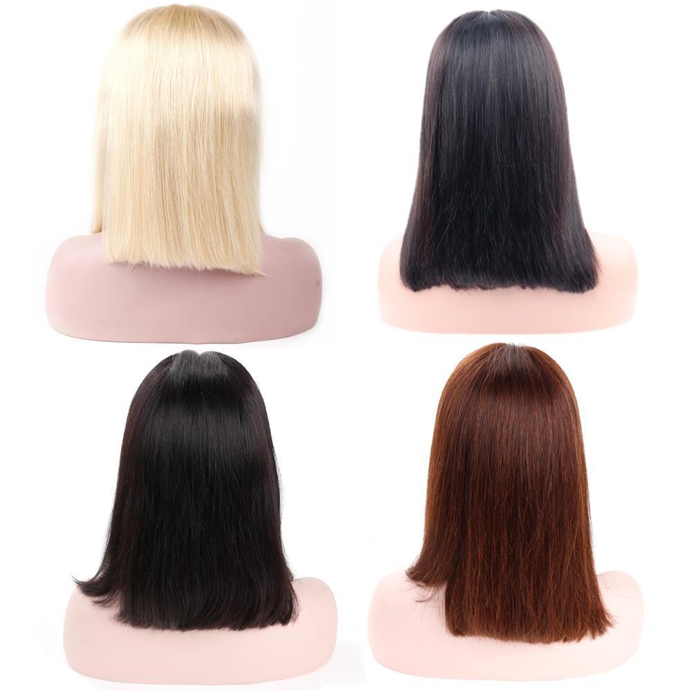 Bob corto pelucas pelo brasileño de Remy recta pelucas del frente del cordón del pelo humano para las mujeres Negro Natural Color # 4 613 pelucas de pelo rubio