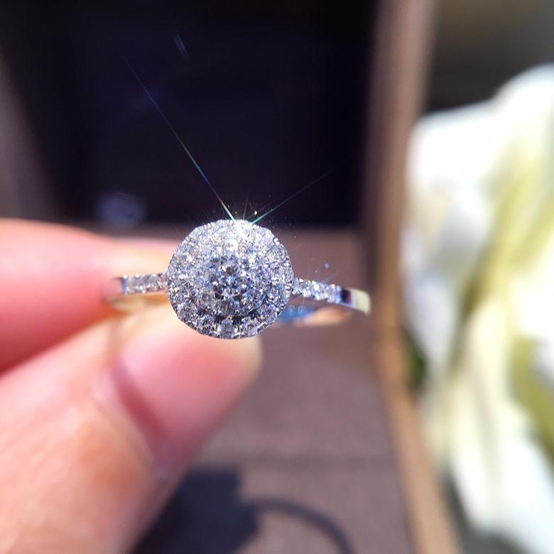 Doğal Elmas Ring'in 18k Saf Altın Düğün Gerçek 750 Katı Klasik Trendy Kadınlar Sıcak Satış Günümüze Özelleştirilebilir Parti 2018 Yeni S200117