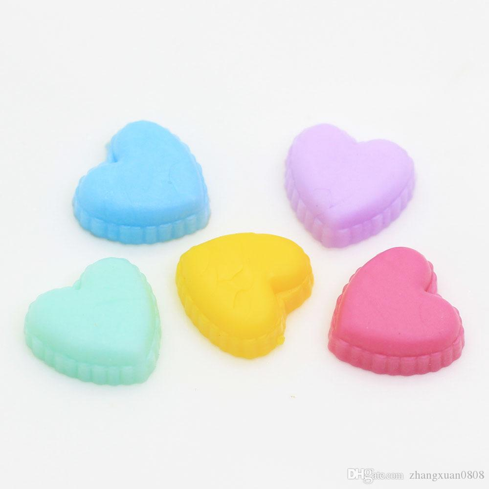 Pastel Flatback Resin pvc Heart Cabochons 3D Food Slime Fillers for Kids Handwork Crafts Jewelry Phone case Charms 100pcs/bag