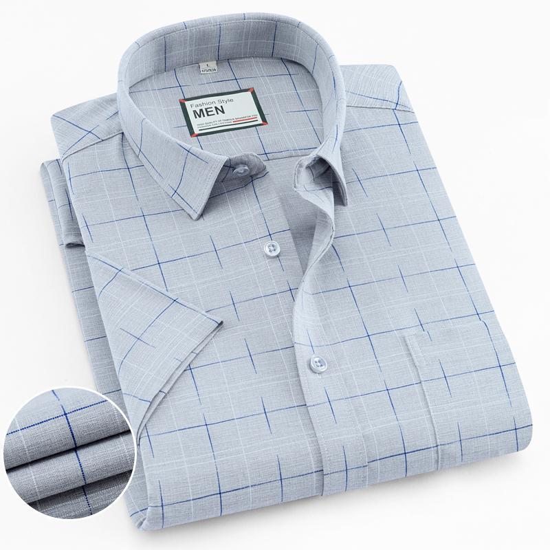Cep Yaz İnce Yumuşak çizgili ile Erkek İşaretli Standart-fit Kısa Kol Elbise Gömlek / Ekose Günlük Gömlek T200619