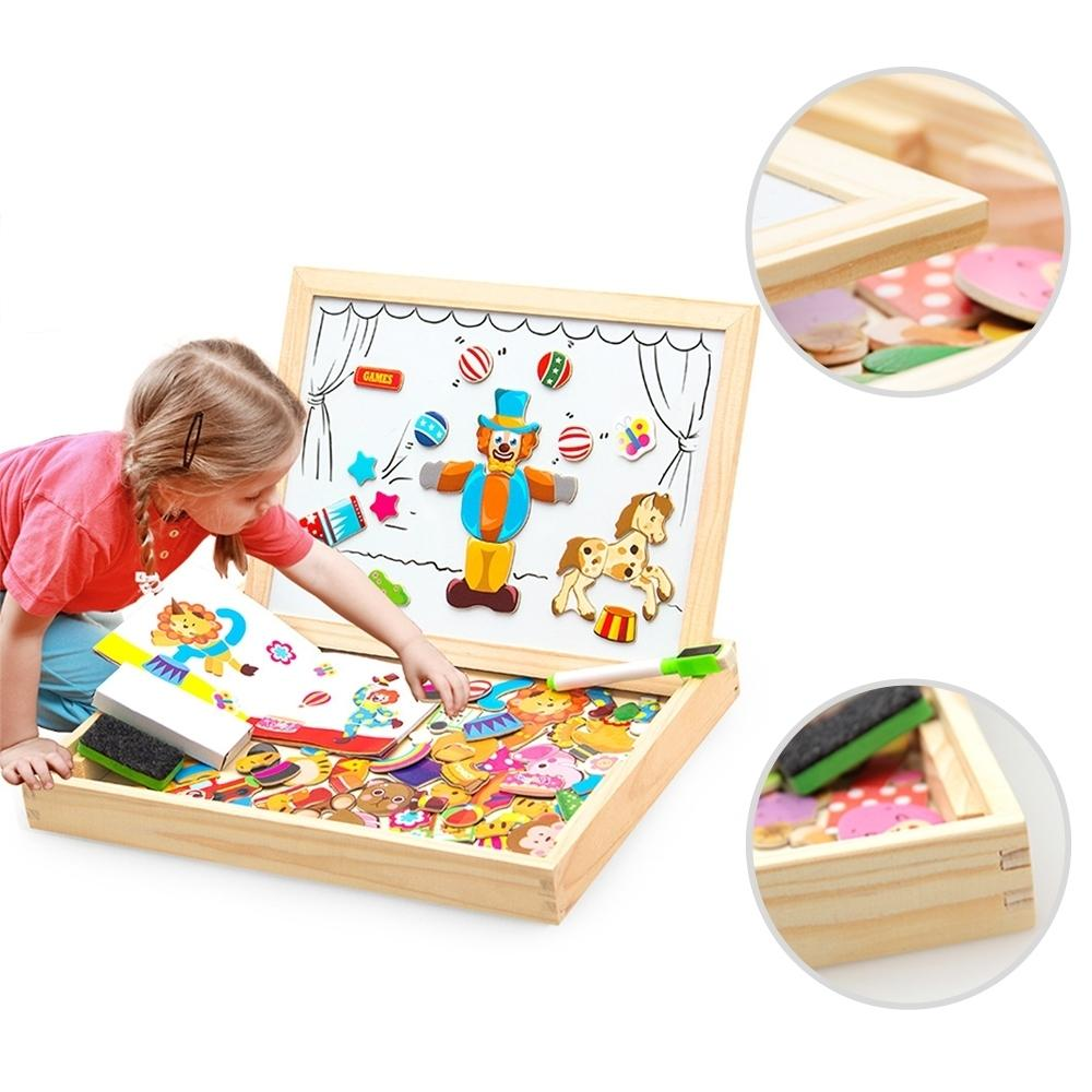 Wooden Magnetic Puzzle Figure/animals/ Vehicle /circus Drawing Board 5 Styles Box Educational Toy Gift Q190530