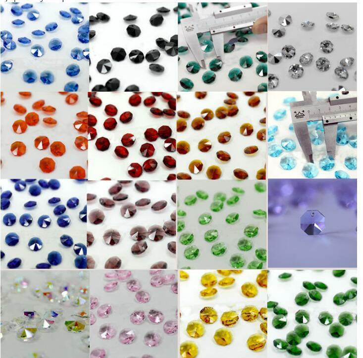 Frete grátis de várias cores 200pcs vidro cristal Octagon Beads 2 furos Para Lustres Parts, Crystal Cortina Acessórios Decoração