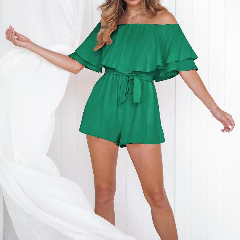 المرأة حللا السروال القصير النساء الصيف بذلة بلون اللون قبالة الكتف قصيرة الأكمام strappy مربوط السراويل لشاطئ عطلة TY6