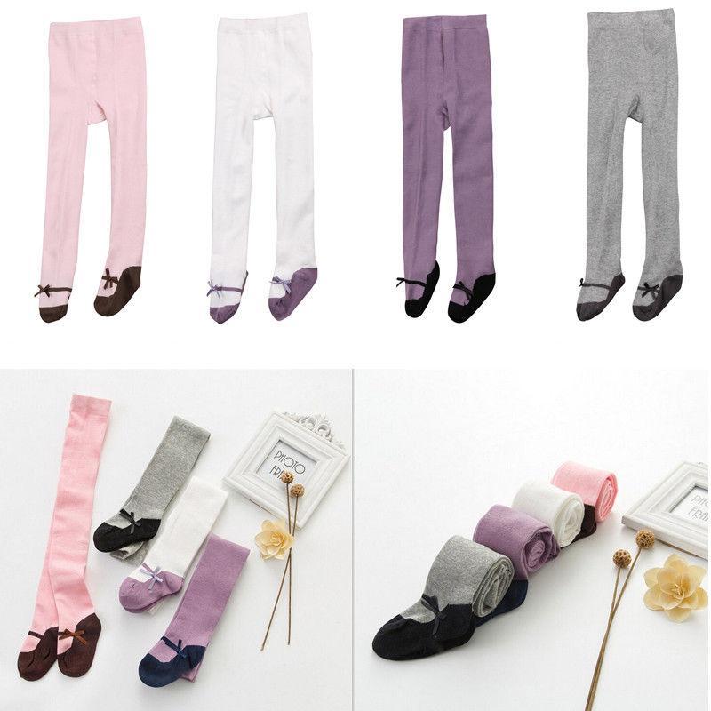 2019 Pantaloni Carino ragazze bambino bambini più piccoli cotone Calze cotone calze e collant tubo di balletto Nero Rosa Rosso Bianco falsi Shoes