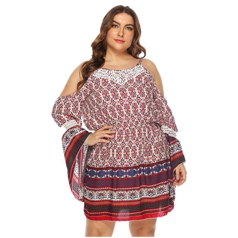 Women Plus Size Dress Stripe Off Shoulder Trumpet Sleeves Flower Printed Dress L-xxxxl Robe Designer Europ En 2020 New#Y2