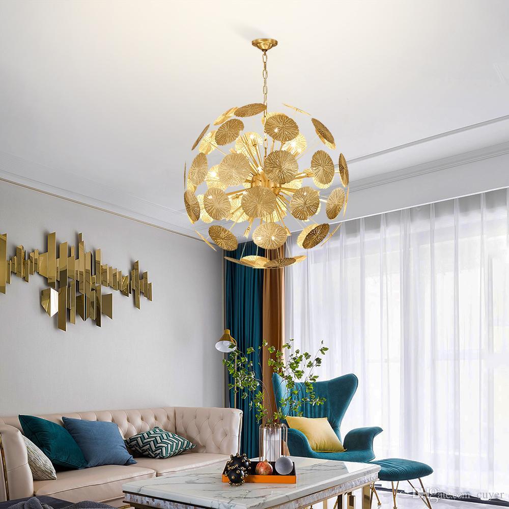 Роскошные медные люстры спальня листья лотоса подвесной светильник круглый столовая гостиная освещение проект светильники