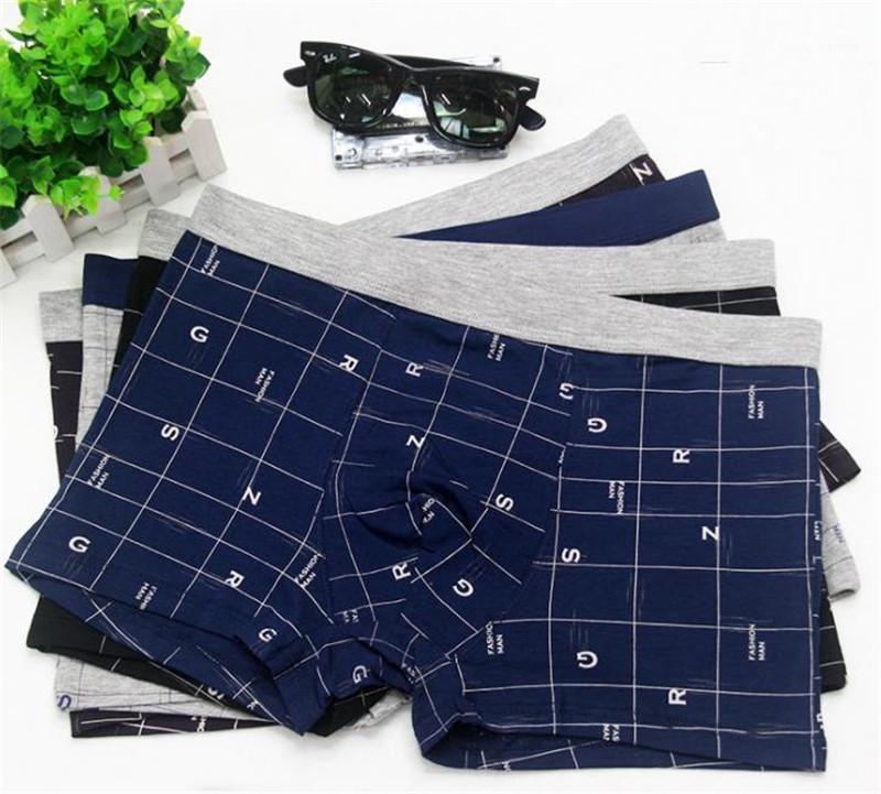 Designer Fashion Underpants Plus Size Plaid lambrissé respirant Hommes Boxer Shorts Sous-vêtements Casual hommes Lettre Vêtements pour hommes Imprimer