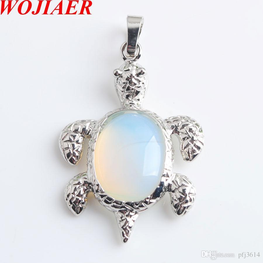 WOJIAER Natural Opalite pedra tartaruga animal pingentes colares Gem Bead DIY Homens Mulheres fazer jóias DN8073