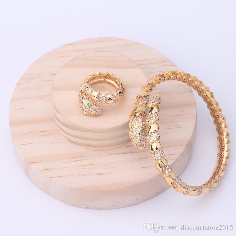 Gioielli di moda di marca Imposta Lady Brass superficie lucida Circles spaziatura diamante singolo serpente serpente 18K fidanzamento Bracciali Ring 3 colori