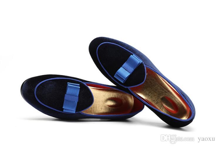Hommes Chaussures Habillées Bowknot Robes De Mariée Hommes Appartements Gentlemen Casual Slip Sur Chaussures Noir Cuir Verni Mocassins En Daim 1h70