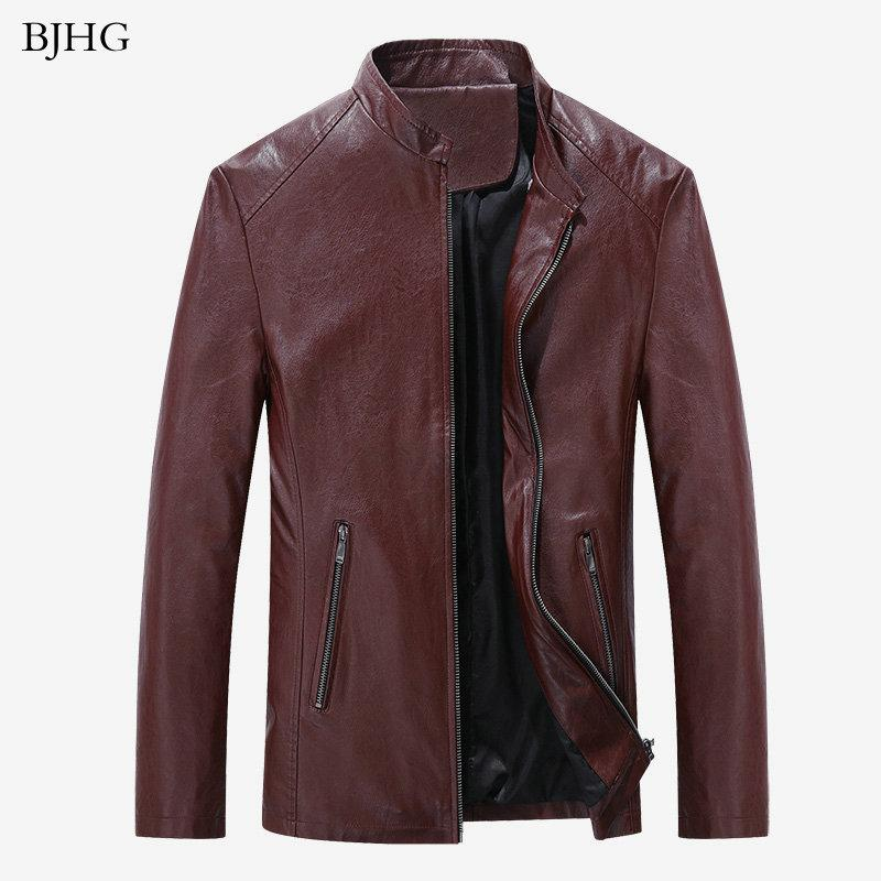 BJHG 2020 Venda quente Moda PU Leather Jacket Casual Homens Boa Qualidade Magro Mens Brasão Jacket