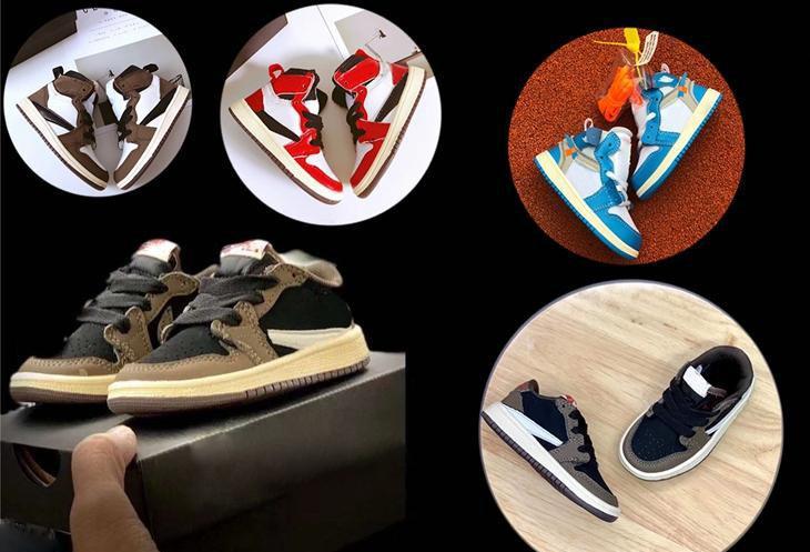 أحمر الرضع موكا أعلى منخفض ترافيس سكوت كرة السلة أحذية الأطفال 1S العليا OG الاطفال الرافعات 1S أحذية رياضية مدرب طفل الطفل سكوتس حذاء