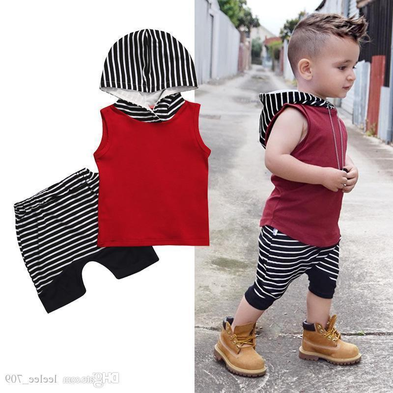 Toddler Kids Baby Boys Vest T Tops+Pants Shorts 2PCs Outfits Hooded Clothes Sets