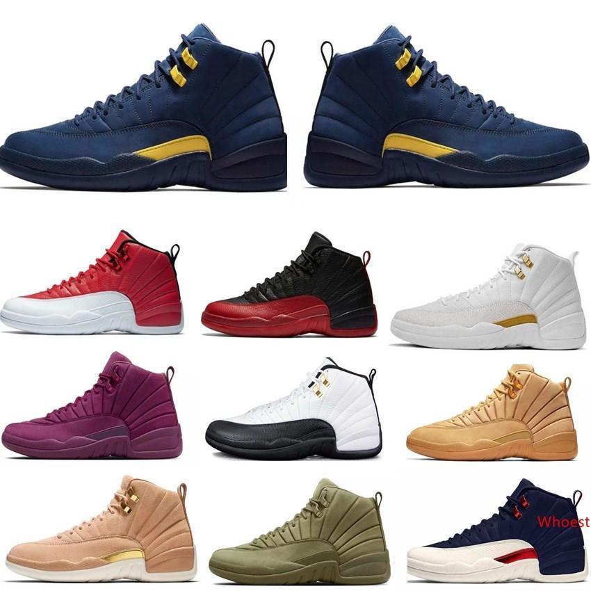 2019 Armada de Nueva 12s 12 Red Bulls zapatos mujeres de los hombres de baloncesto UNC taxis Nubuck Colegio Juego de la gripe gamma francés azul entrenador zapatillas deportivas