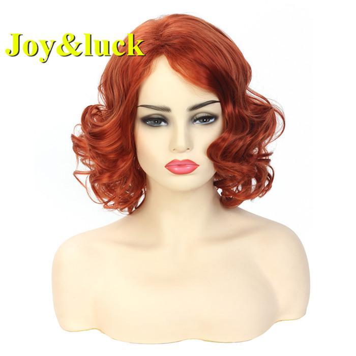 Diário peruca sintética do Joyluck Mulheres curto Moda Laranja peruca Cor Natrual Onda peruca