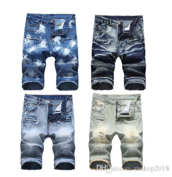 Uomini pantaloncini di jeans Moto Jeans Rock Revival brevi pantaloni skinny sottile strappato foro Designer Denim Shorts Mens Jeans Uomo brevi